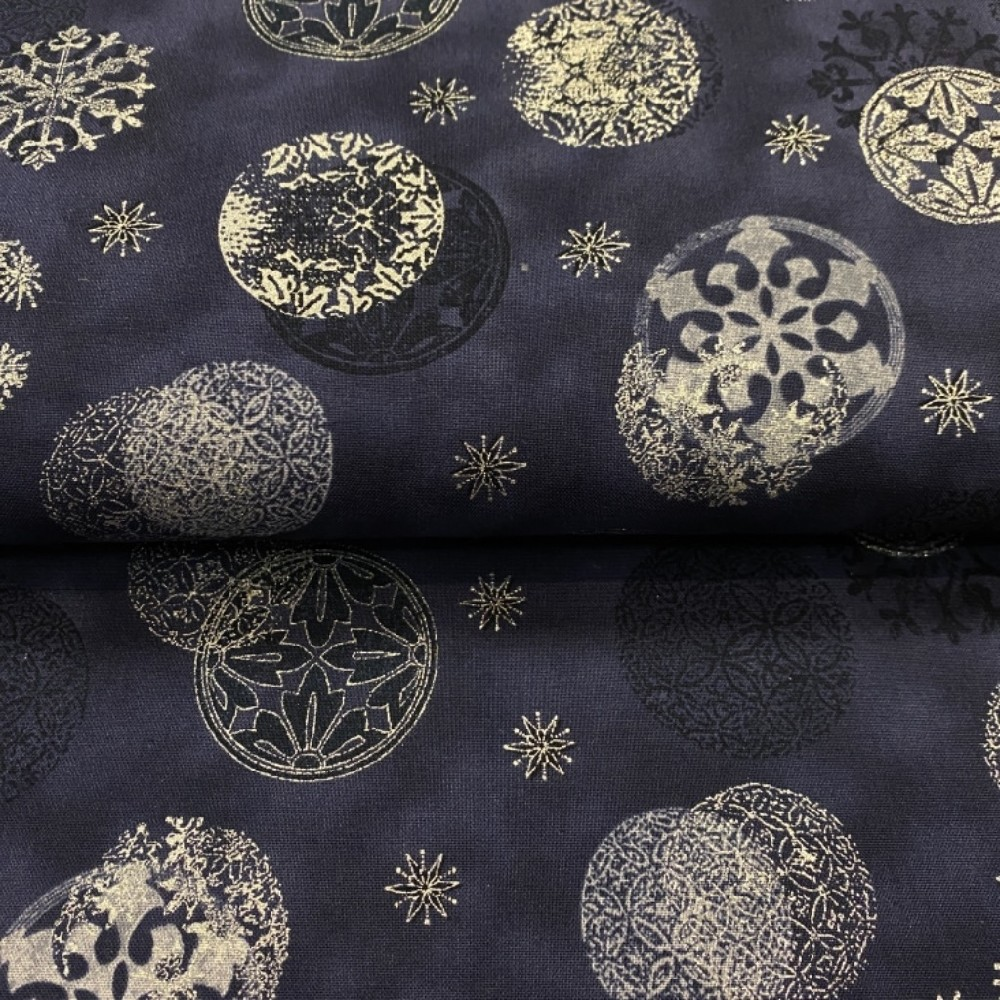 bavlna vánoční tmavě modrá stříbrné hnězdičky 110cm