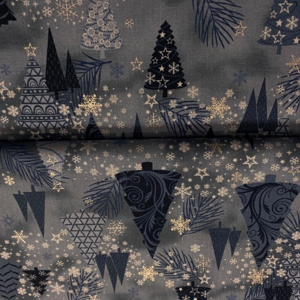 bavlna vánoční modrá stříbrné stromečky 110cm