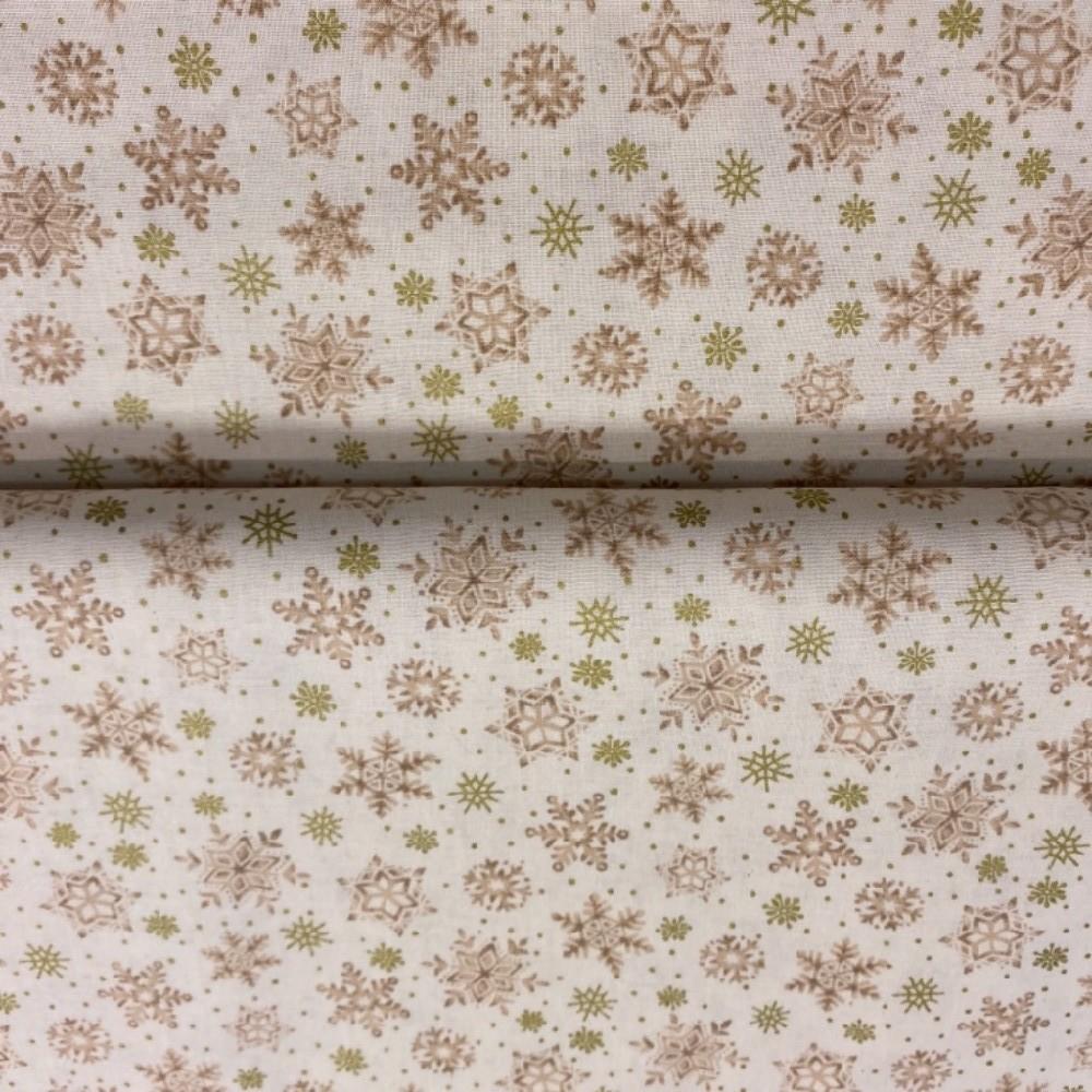 bavlna vánoční bílá zlaté a zelené hnězdičky 110cm