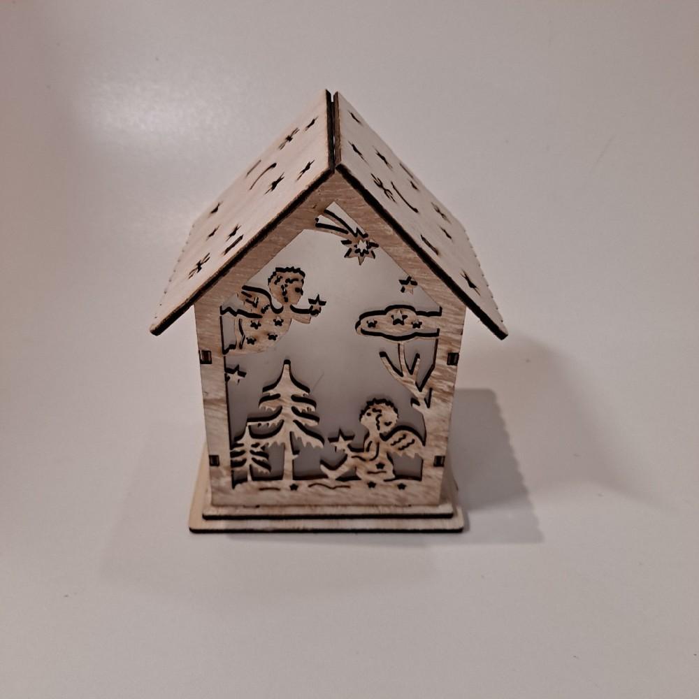 Domeček dřevěný 10,5x8,5x13cm LED