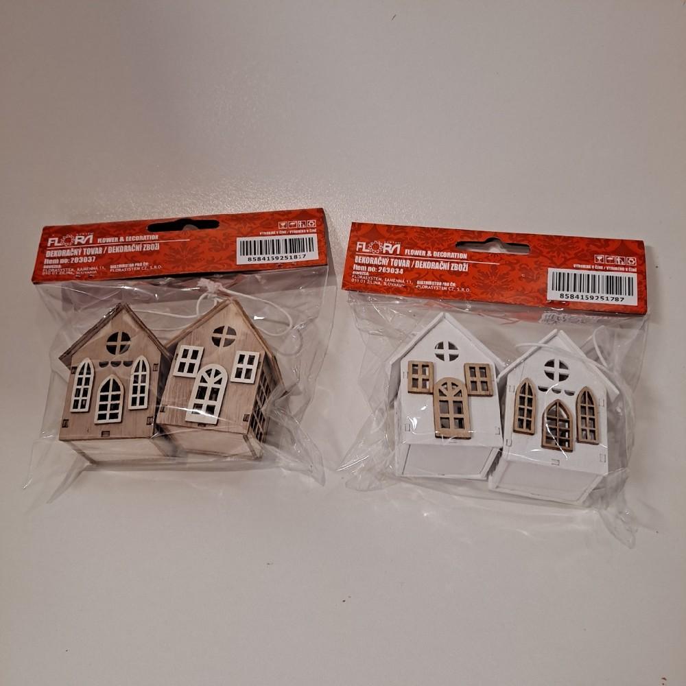 Dva domečky dřevěné 5x4x6cm