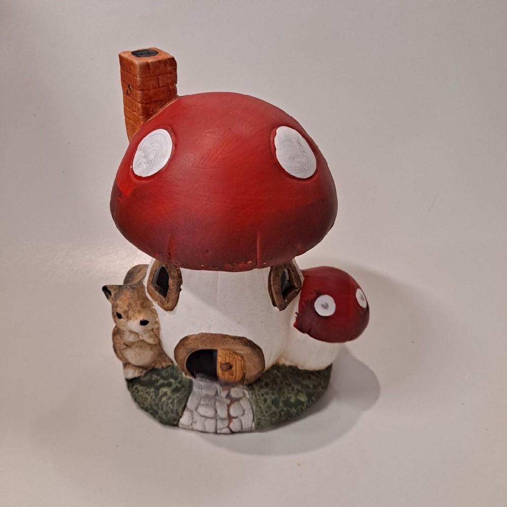 domeček mochomůrka LED 15x12x19,5cm keramika