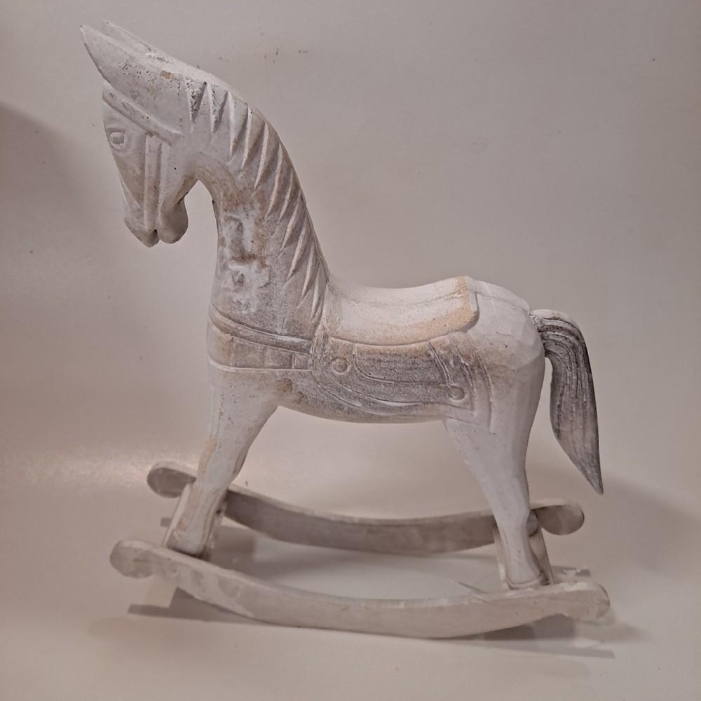 koník houpací bílý dřevo 29,5x7,5x31 cm