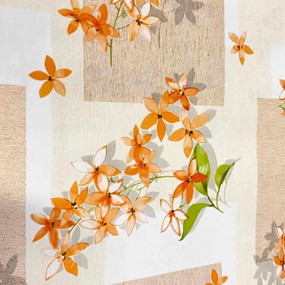 ubrus PVC kostky oranž květy