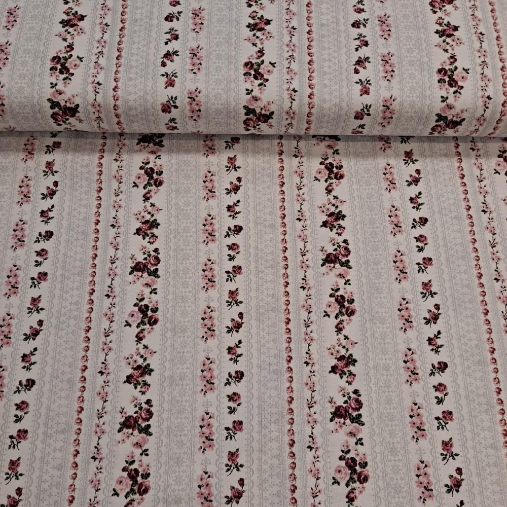 bavlna smetanová pruhy z růží
