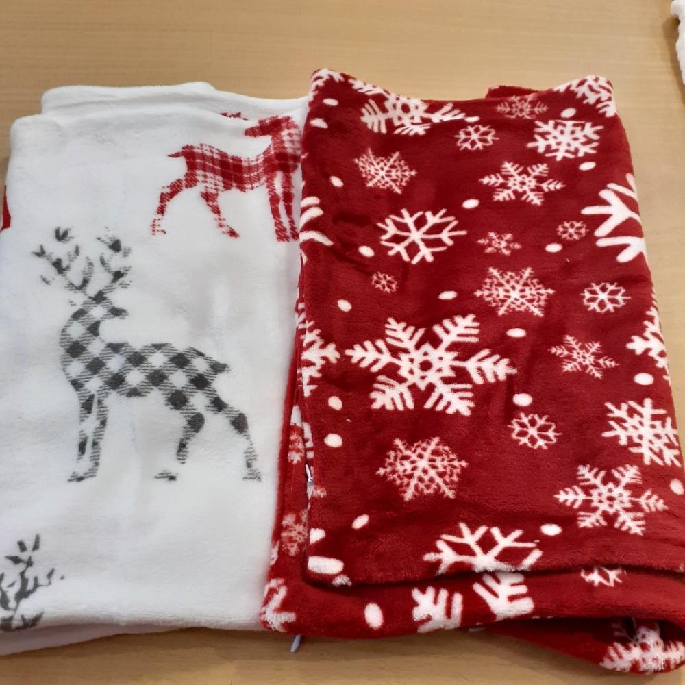 povlak plyš vánoční vzor 40x40 cm