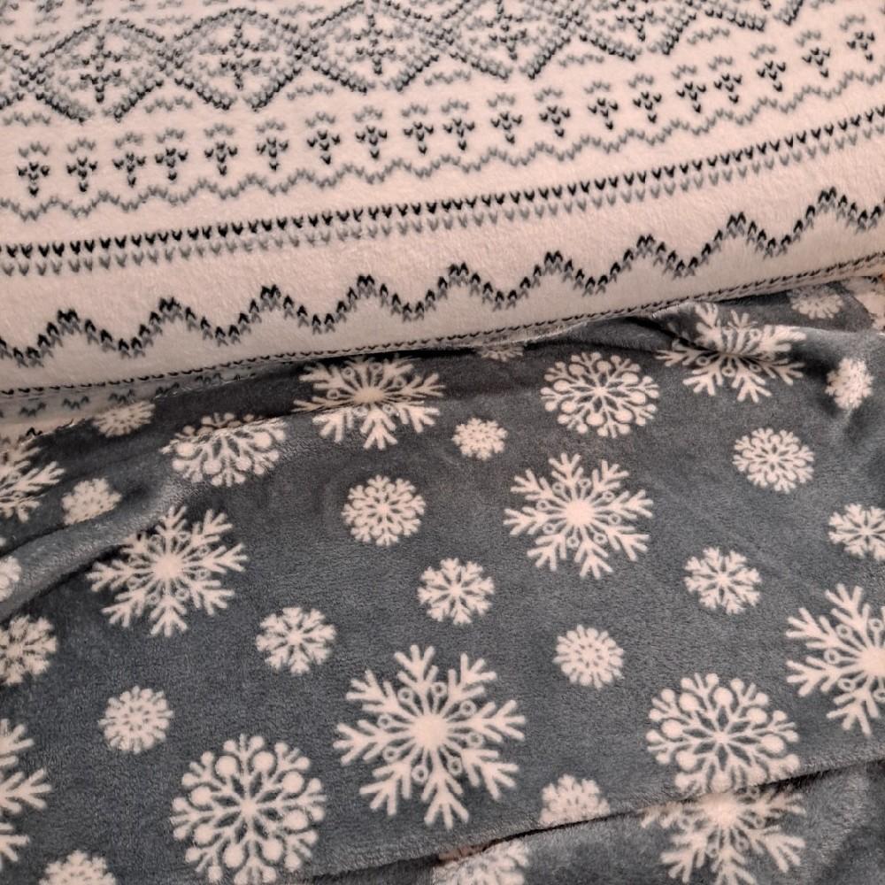 mikroplyš dvoustraný bílo šedá zima
