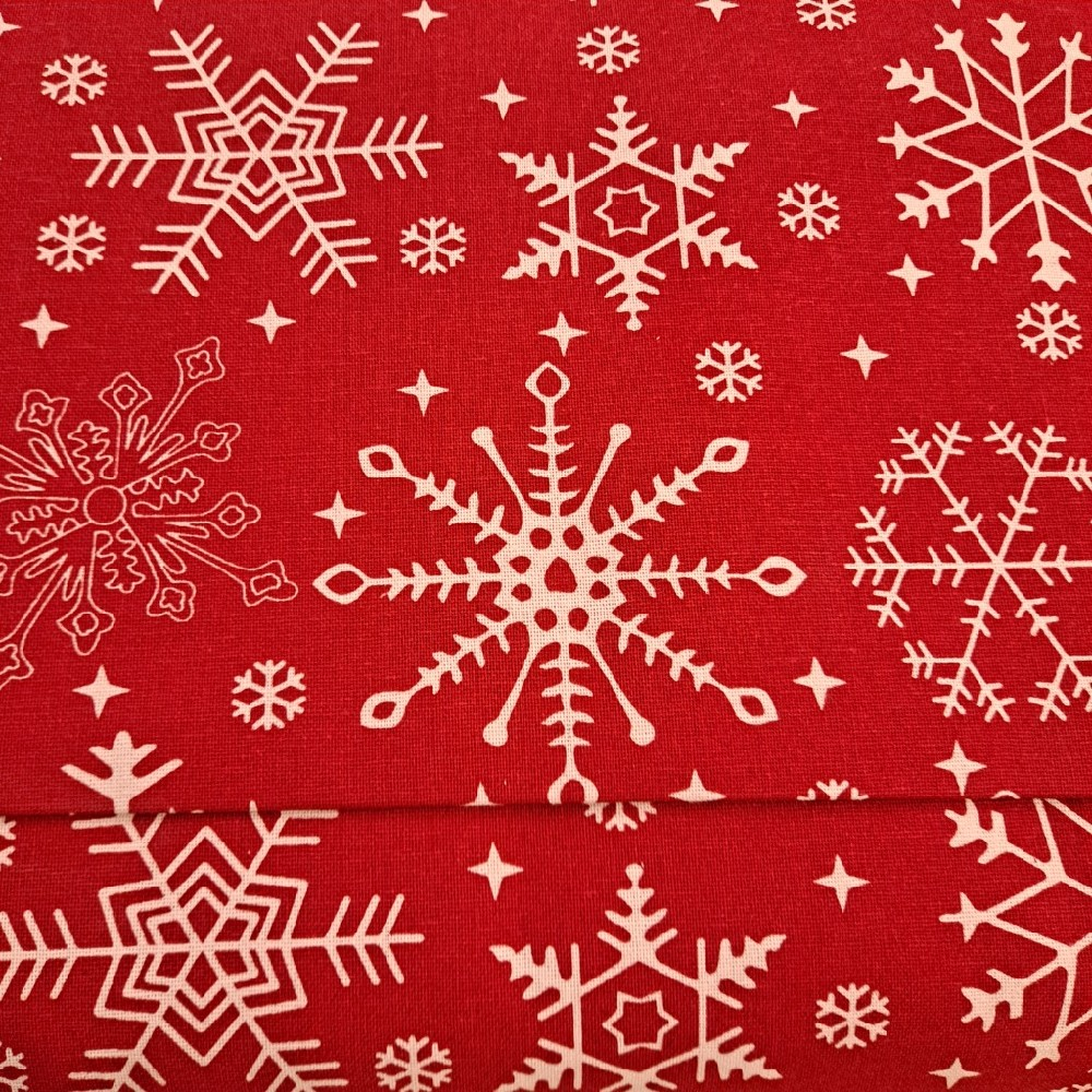bavlna červená vločky