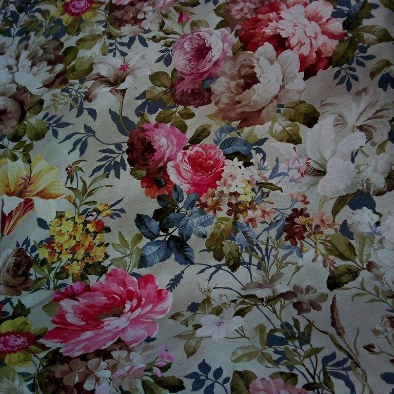 loneta šedá s barevnými květy