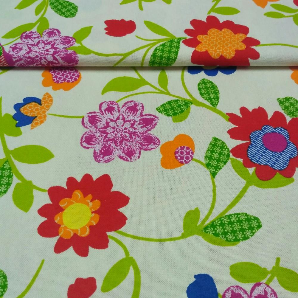 dekoračka Glosfial.růž.oran.květy š.140