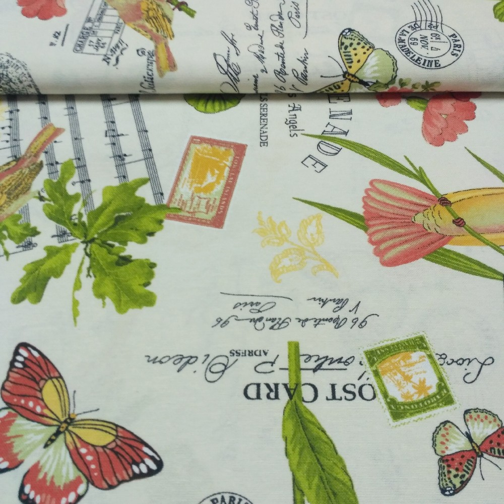 dekoračka  motýl,noty, ptáci š.140