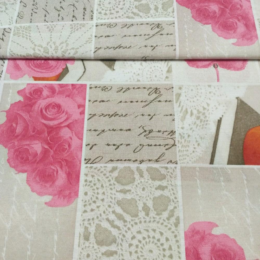 dekoračka Edurne rose béž.růž.rů š.140cm
