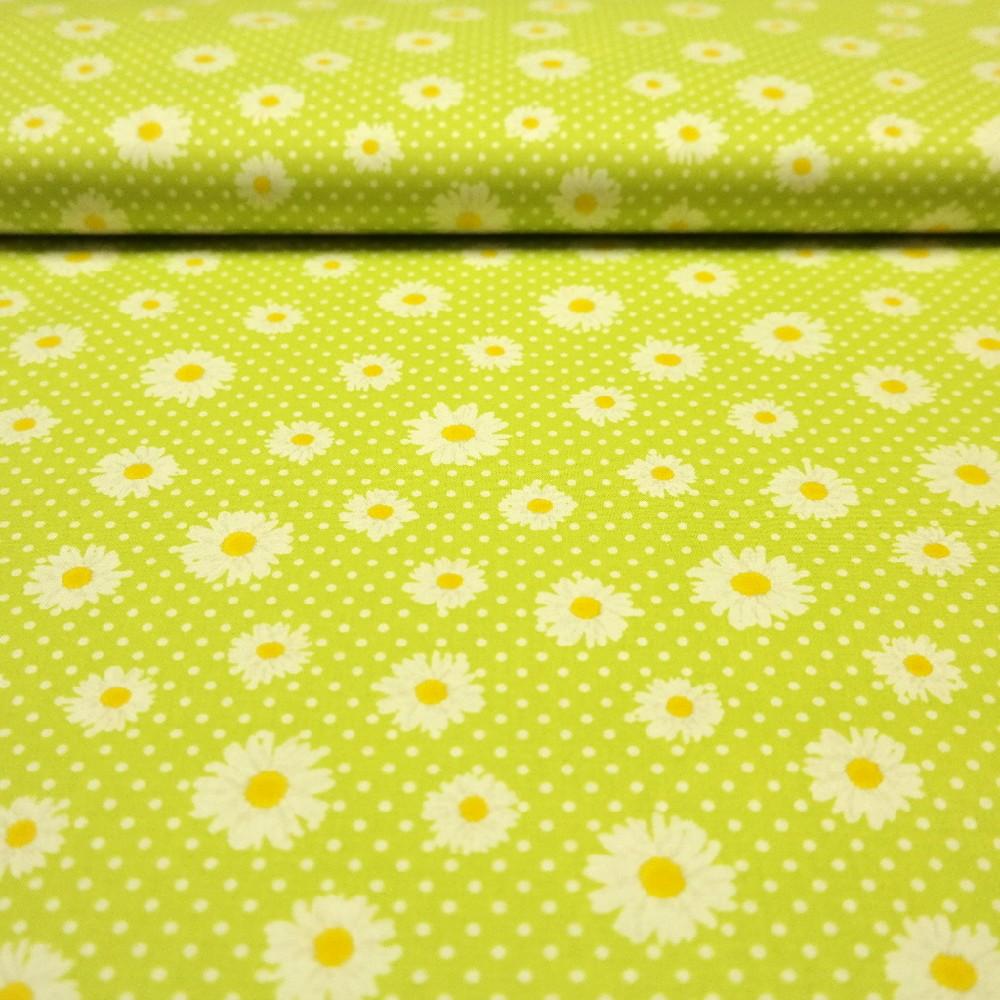 bavlna zelená kopretiny