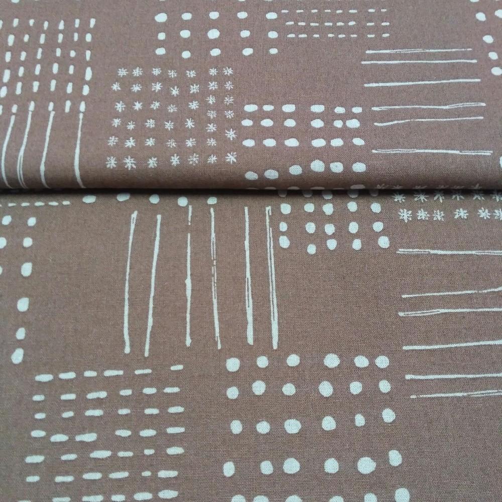 bavlna hnědá vzory 110 cm