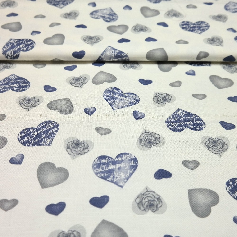 dekoračka modr.béž.šedé srdce 27995/5003 140