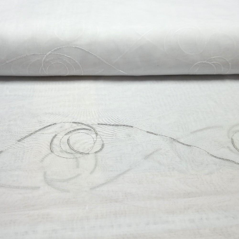 záclona Ve 40044/280/3 voál šedo bílé kruhy