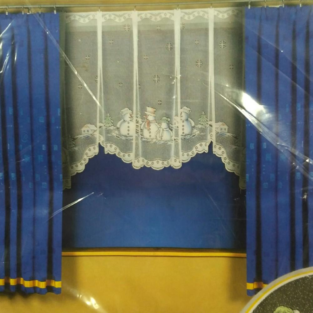 záclona hotová sněhuláci 340x160
