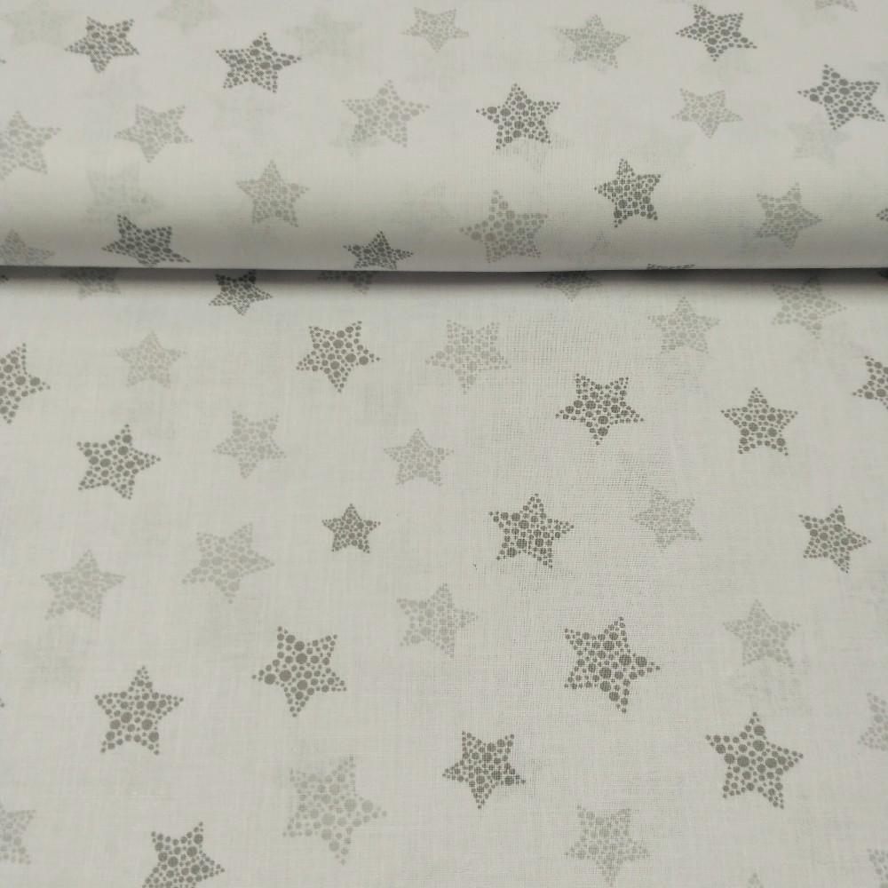 bavlna šedé hvězdičky ns bílém podkladě 160 cn