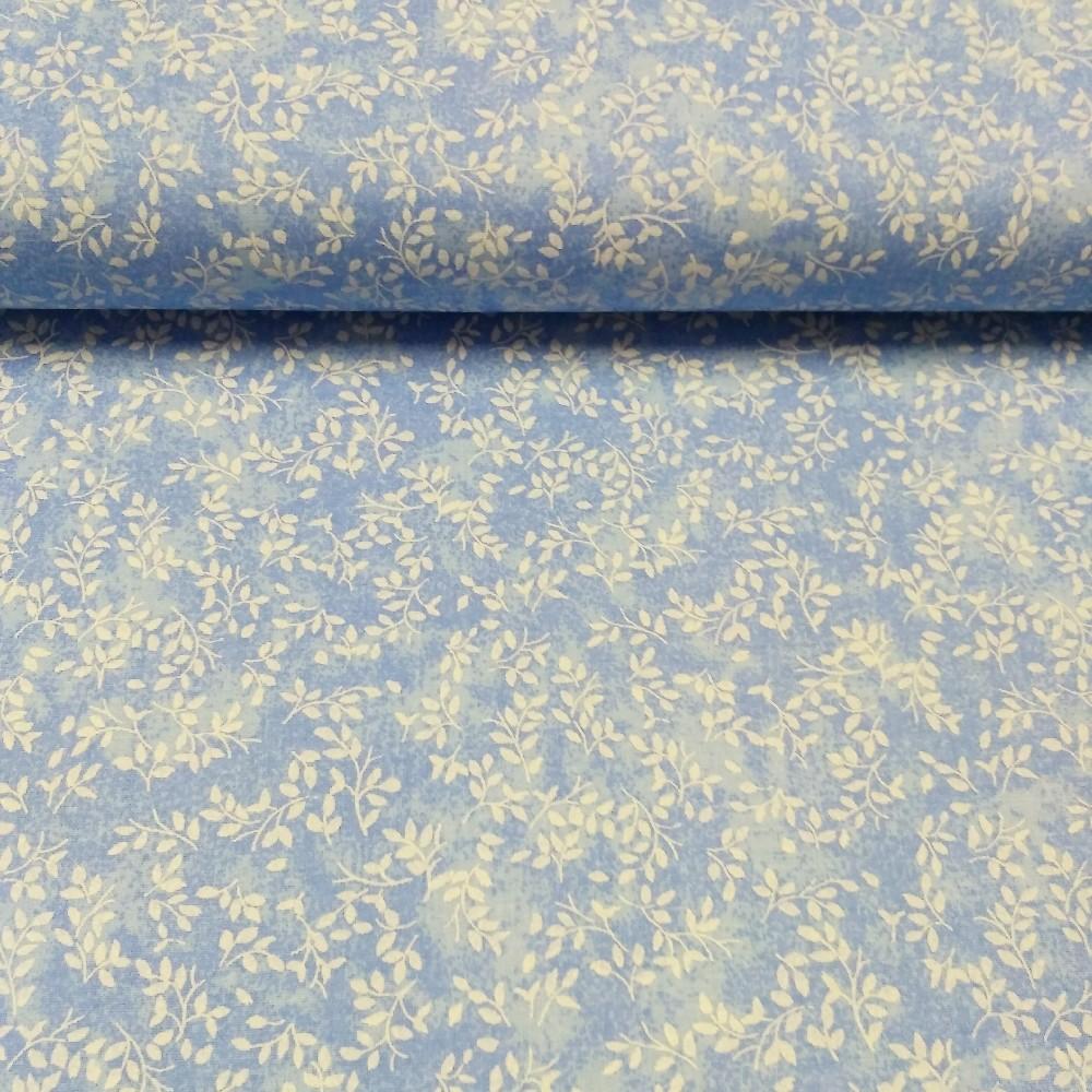 bavlna bílé lístečky na modrém podkladě  150 cm