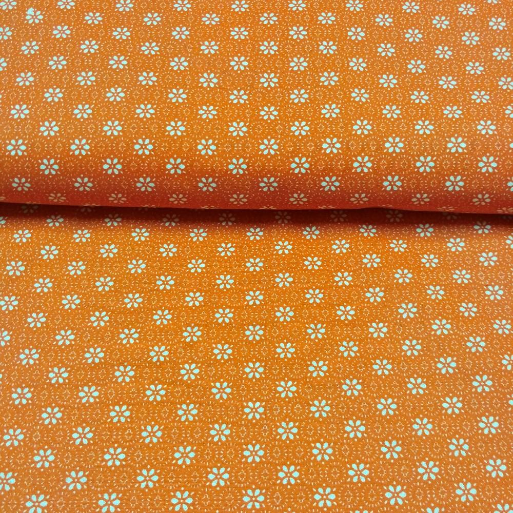 bavlna tmavě oranžová bílé kytička 150 cm