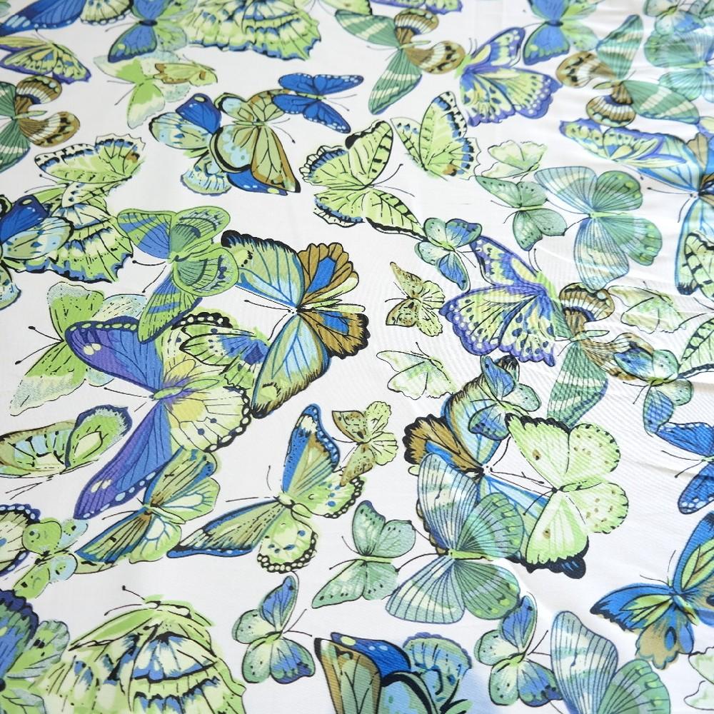bavlna barevný motýlci do zelena 150 cm