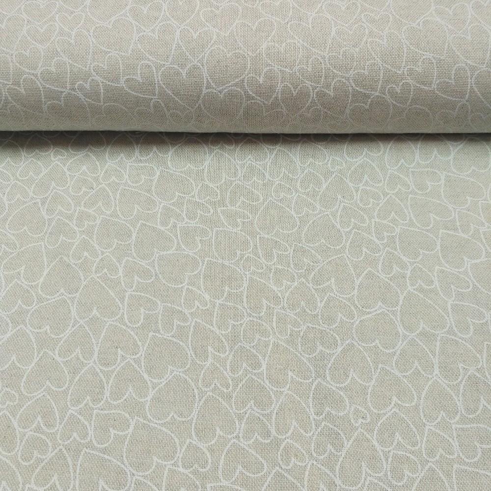 dekoračka natur bílá srdíčka na rež.pod.36981-1/140 cm