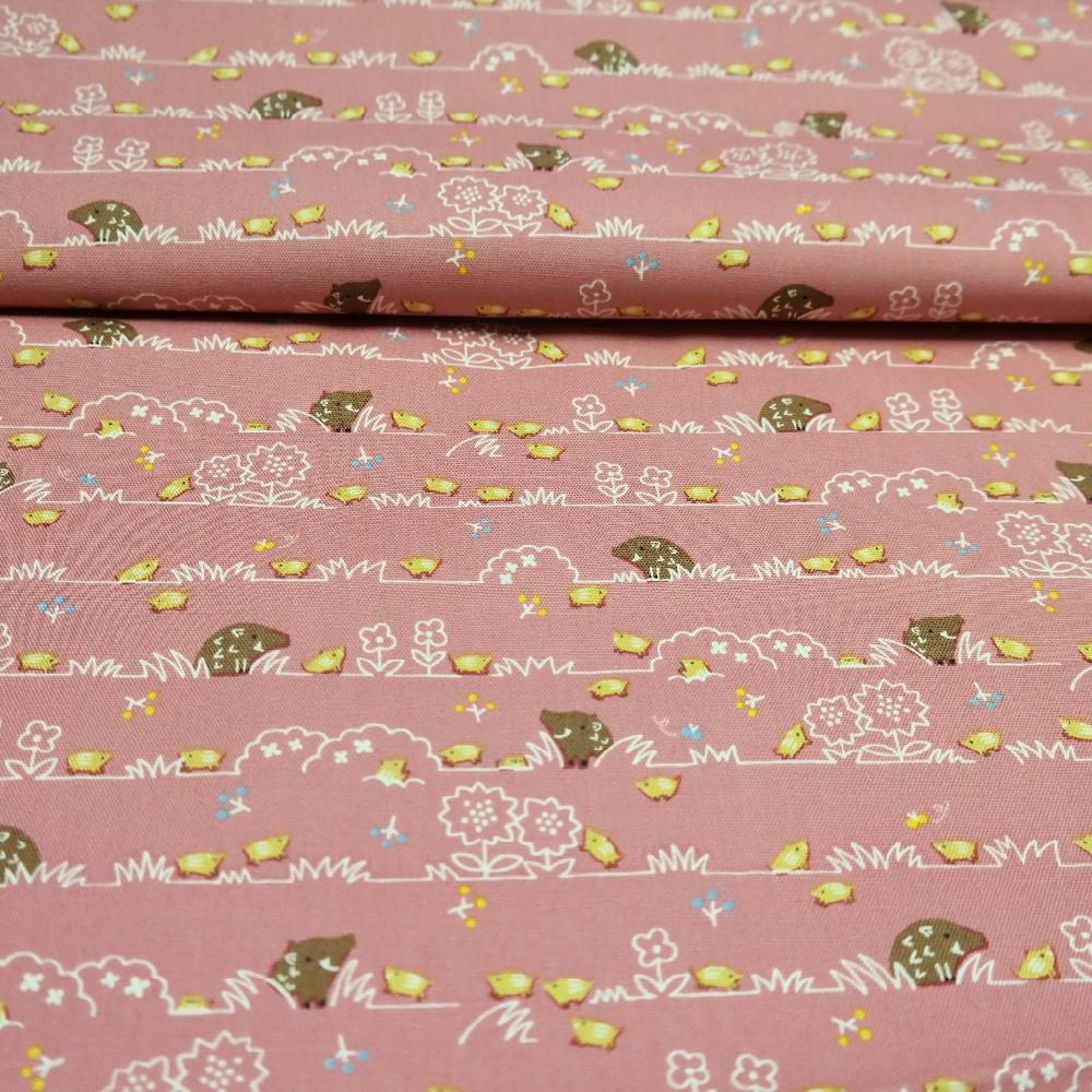 bavlna růžovo bílá kytička -ježek 110 cm