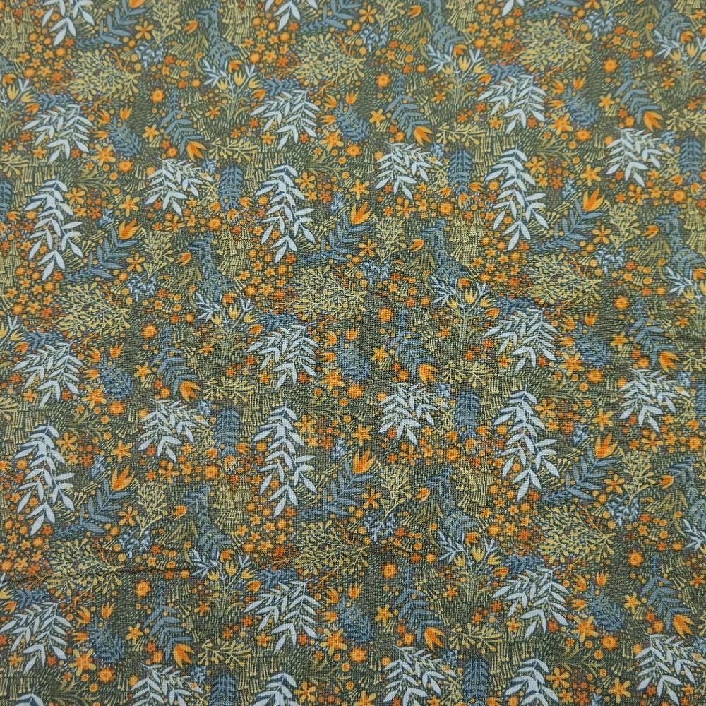 bavlna zelenomodré listy 110 cm