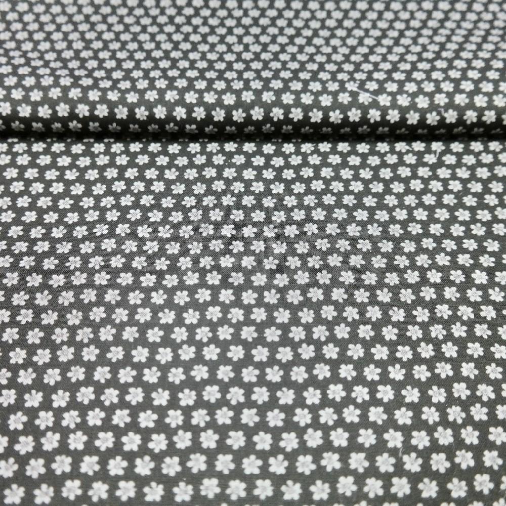 bavlna černá kytky 110 cm