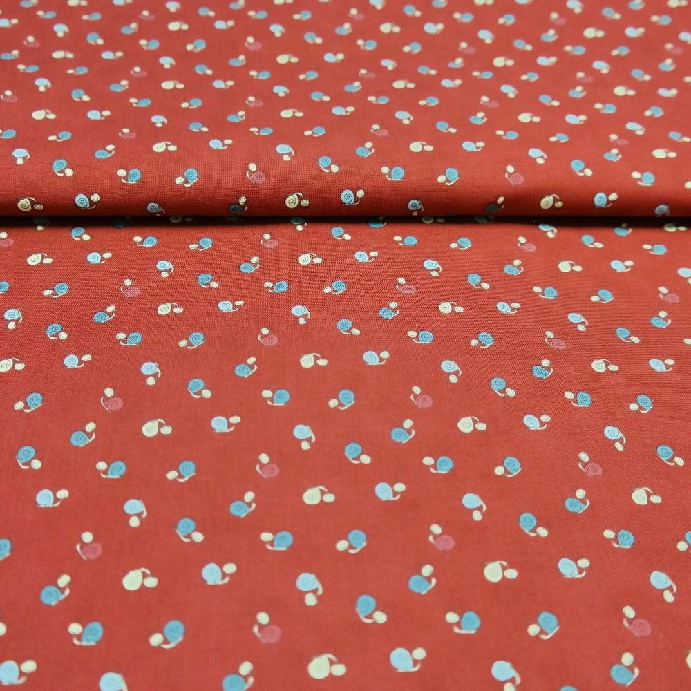 bavlna červená šneci 110 cm