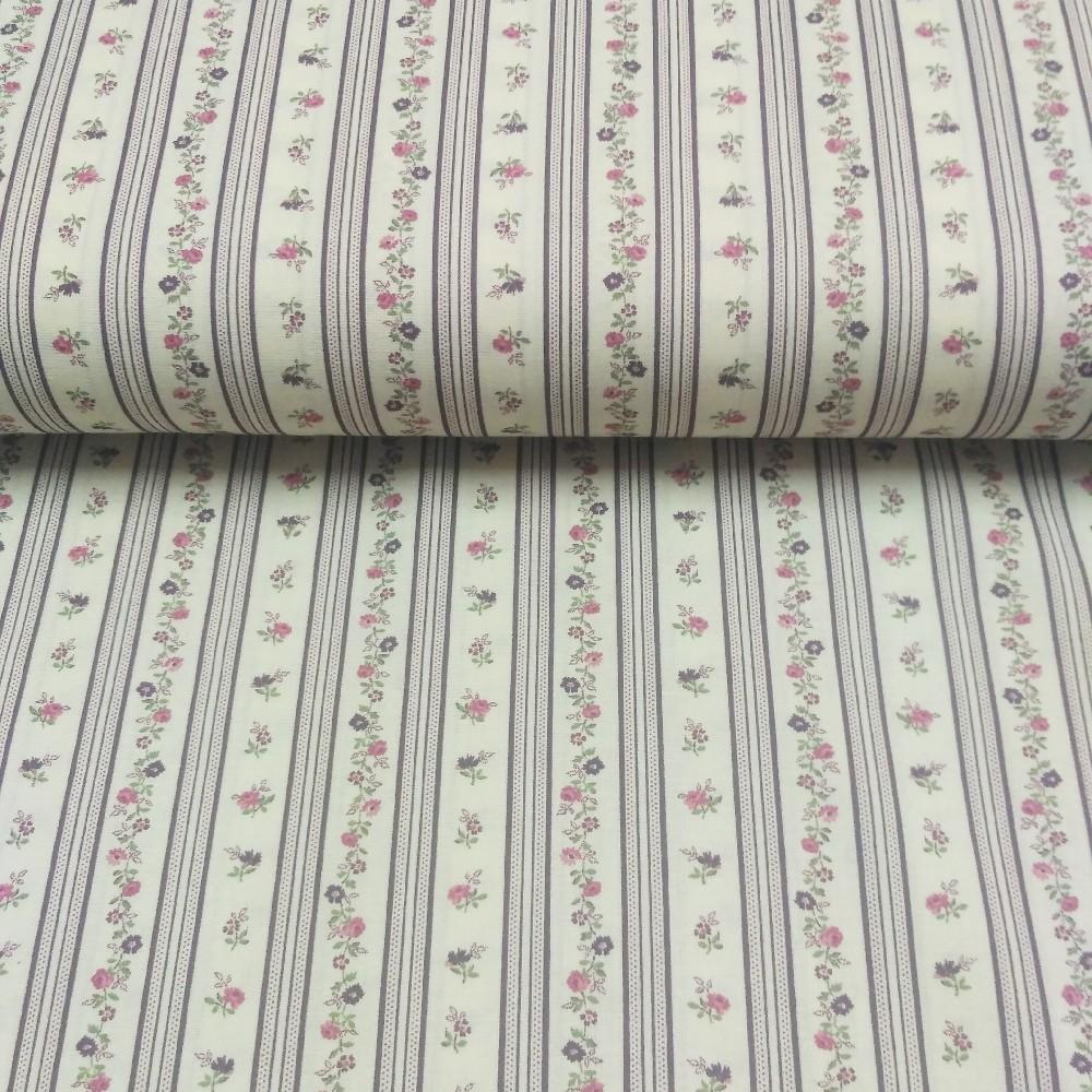 bavlna růž.fial.kytičky v pruzích 110 cm