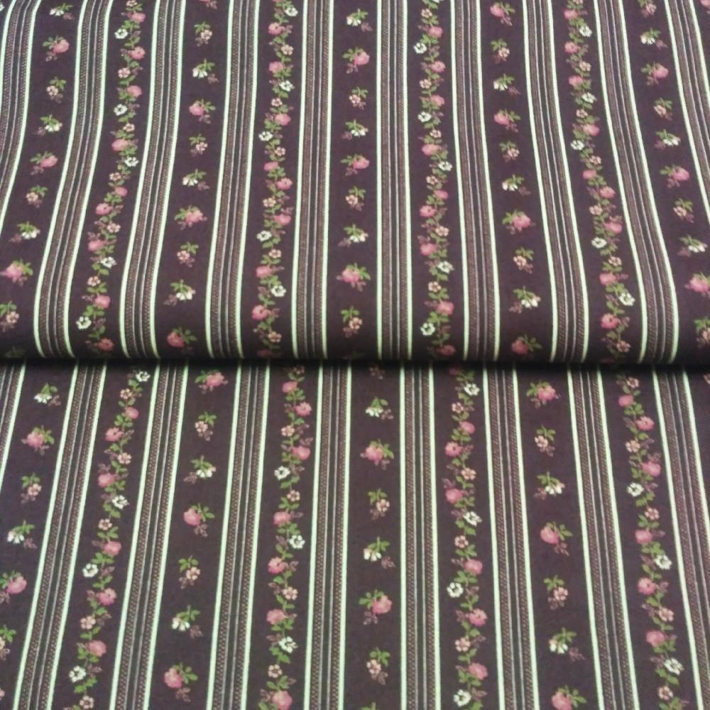 bavlna kytičky  na bordovém podkladě pruhy 110 cm