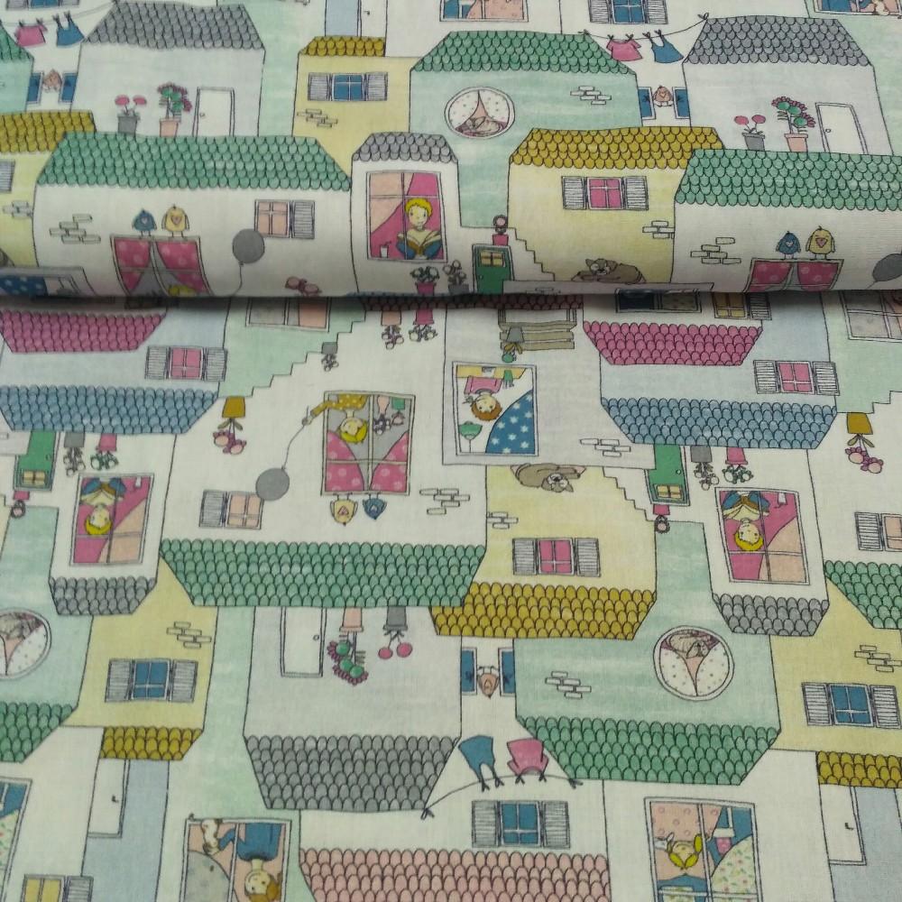 bavlna dětská domečky