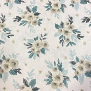 dekoračka modré květy 140 cm