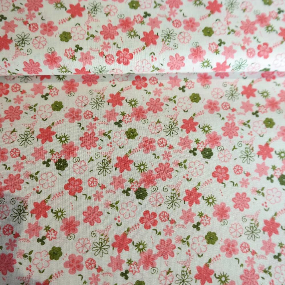 bavlna růžové květy