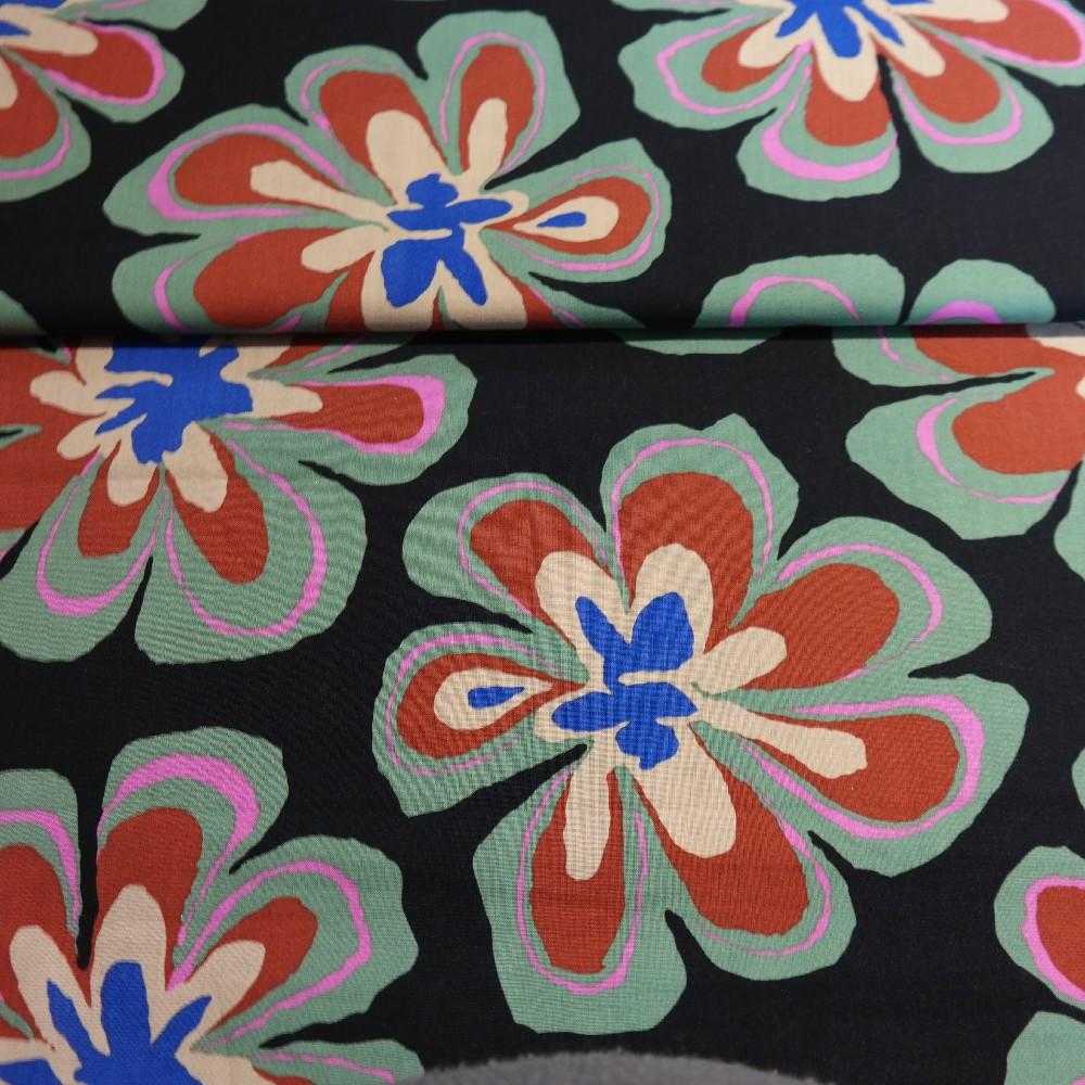 bavlna černá velké květy  š.110