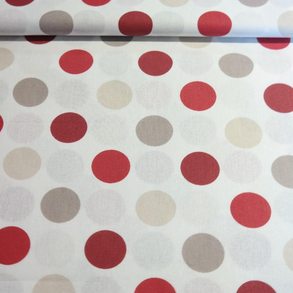 bavlna červeno krémov.šedý velký punt280