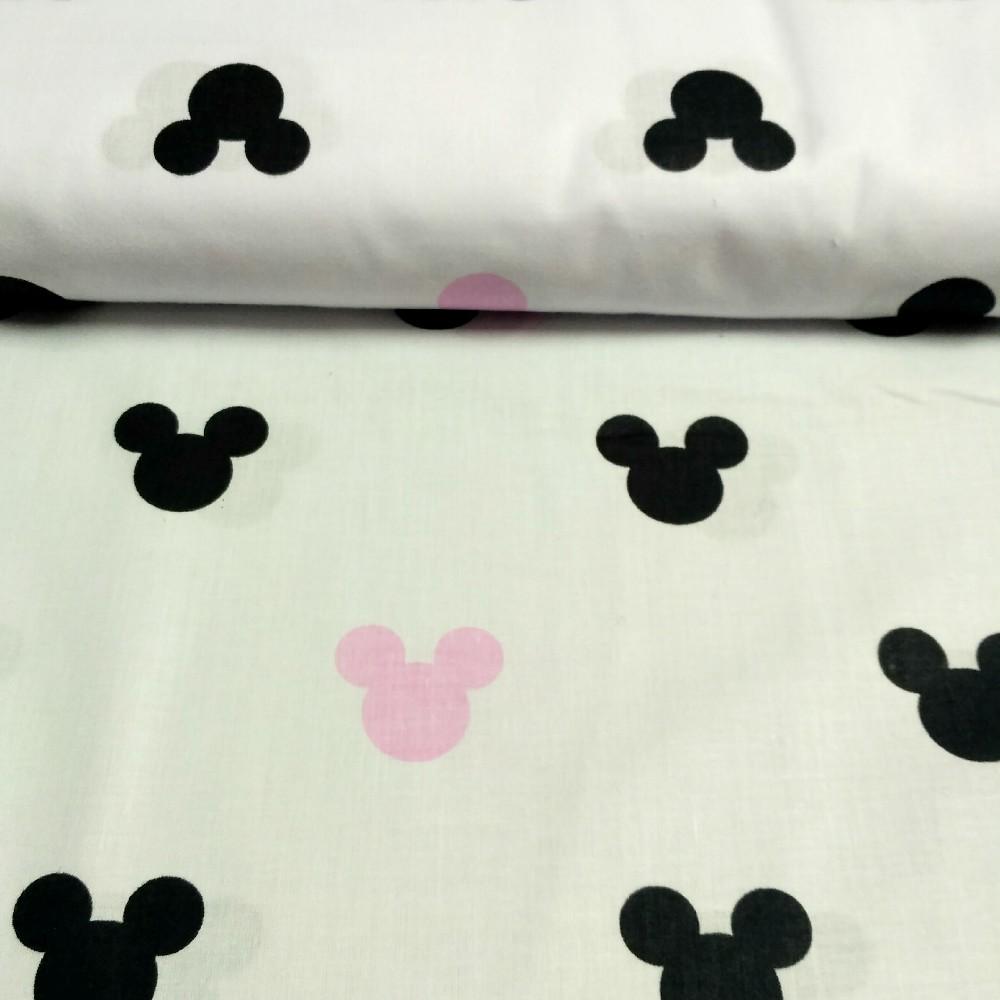 bavlna micky mouse růžová