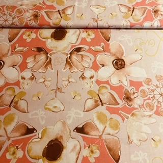 bavlna růžov.hněd.květy motýl.š.110