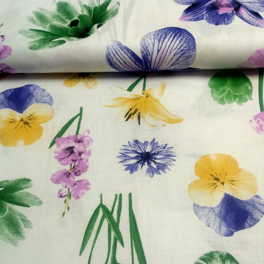 Bavlna bílá květy 160cm