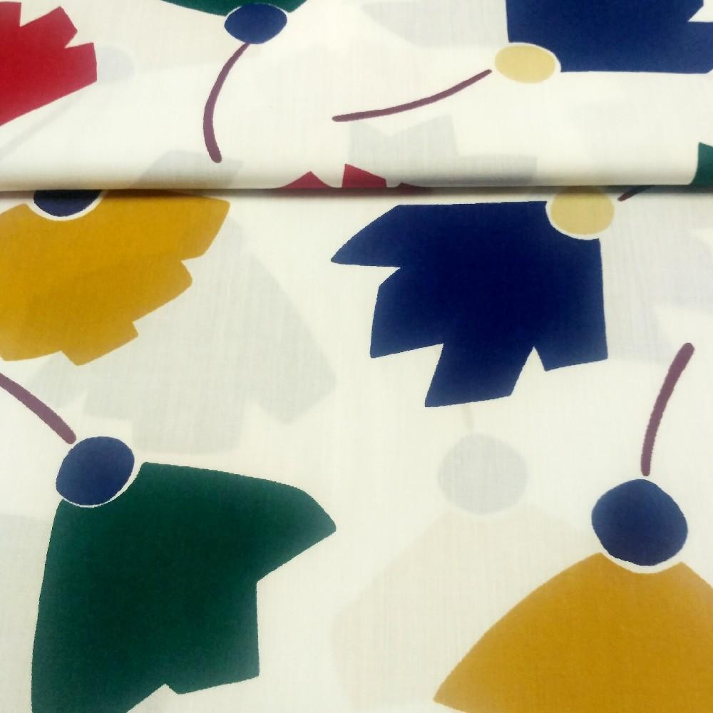 bavlna mod.zel.čer.květy  poupě