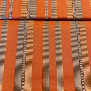 bavlna oran.žlut.čer.bíl.pruhy š.140
