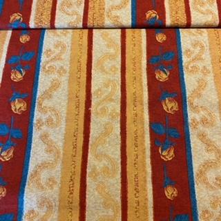bavlna bordová modro/ oran.pruhy růže 140 cm