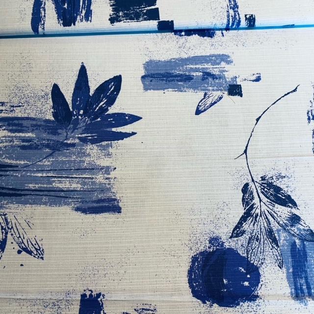 bavlna modrá listy š.140  1 j.