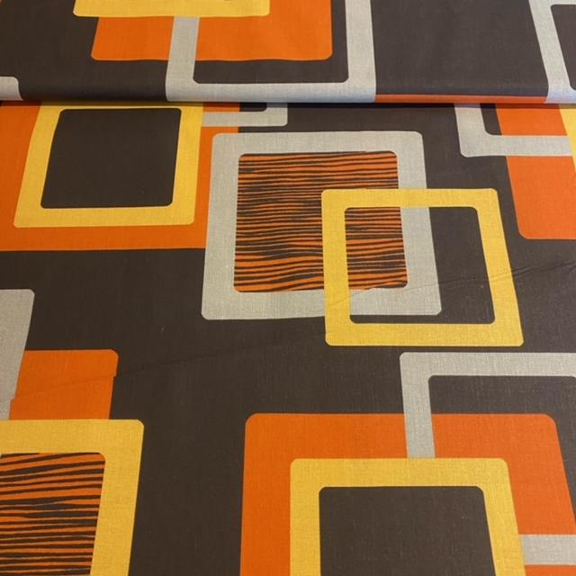 bavlna oran.žl.hněd.abstr.vzor š.140