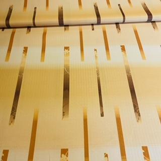 dekoračka žlutá hnědobéžové čáry š.140cm