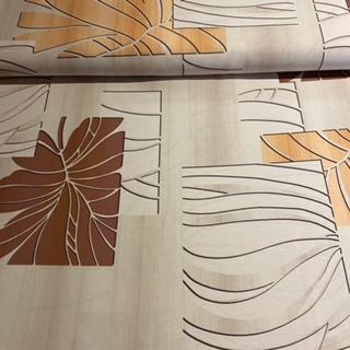 dekoračka hnědobéžové listy š.140cm