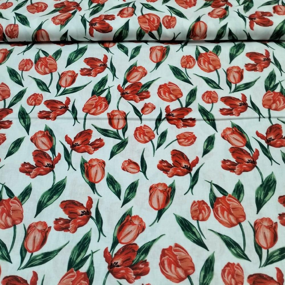 bavlna vánoční stromky  tyrkys 110