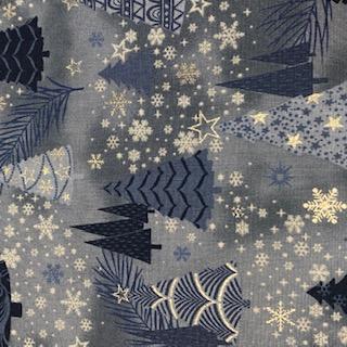 bavlna modré stromečky 110 cm