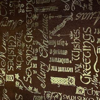 dekoračka zlato hnědé nápisy 160 cm
